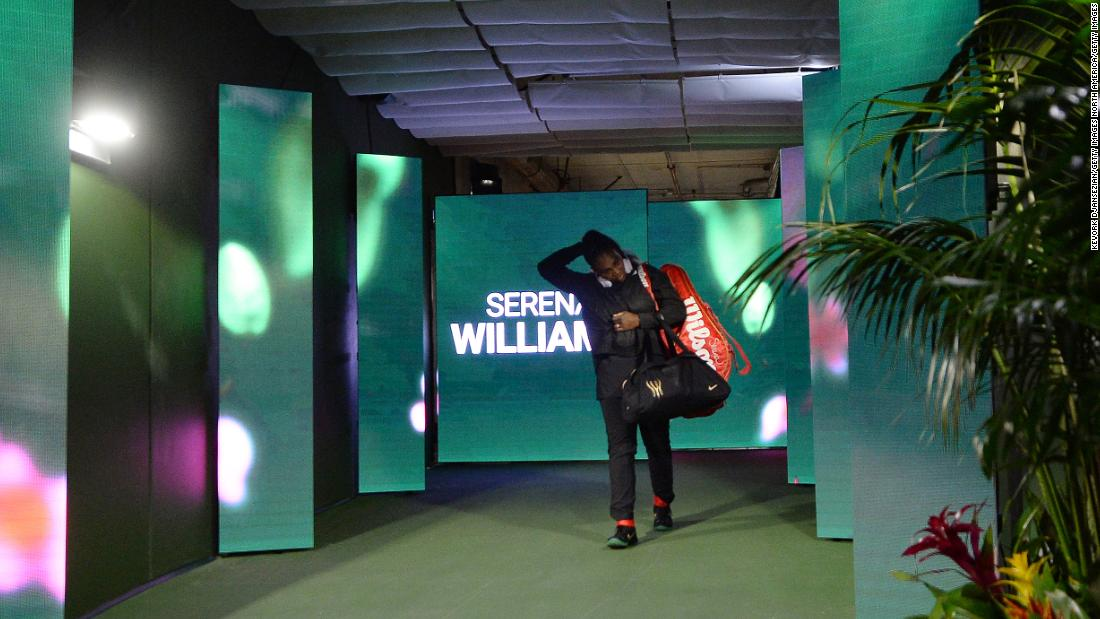 Serena Williams prepares to enter the court as she makes her singles tennis comeback at Indian Wells, California. The American hadn't played an official singles match since winning the Australian Open in 2017 while pregnant.