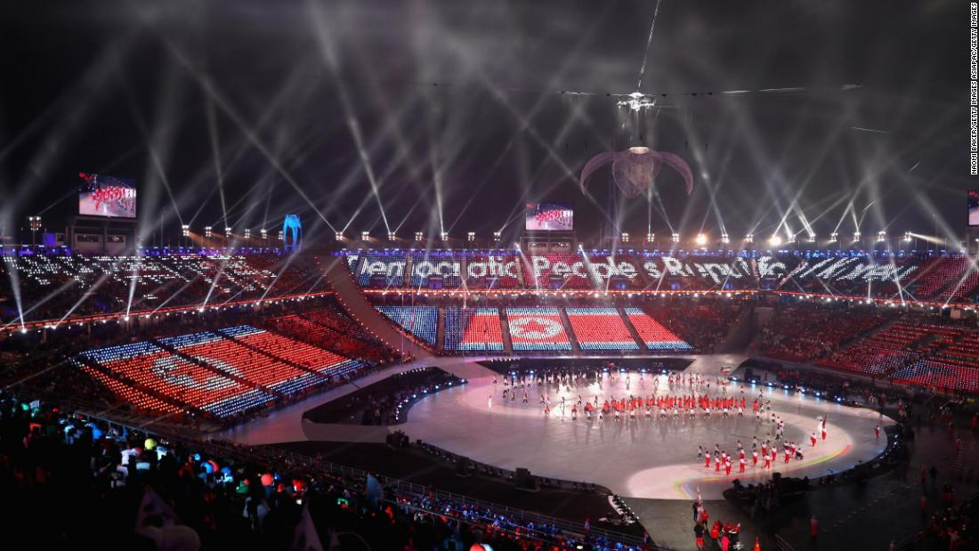 The first ever North Korean Winter Paralympic team march at the opening ceremony.