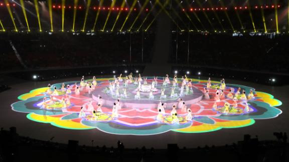 South Koreans perform during the Winter Paralympics opening ceremony in the PyeongChang Olympic Stadium.