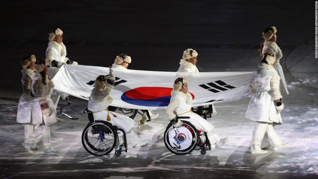 The South Korean flag enters the stadium during the opening ceremony of the PyeongChang Games.