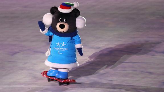 PyeongChang Paralympics mascot Bandabi skateboards into the arena during the ceremony.