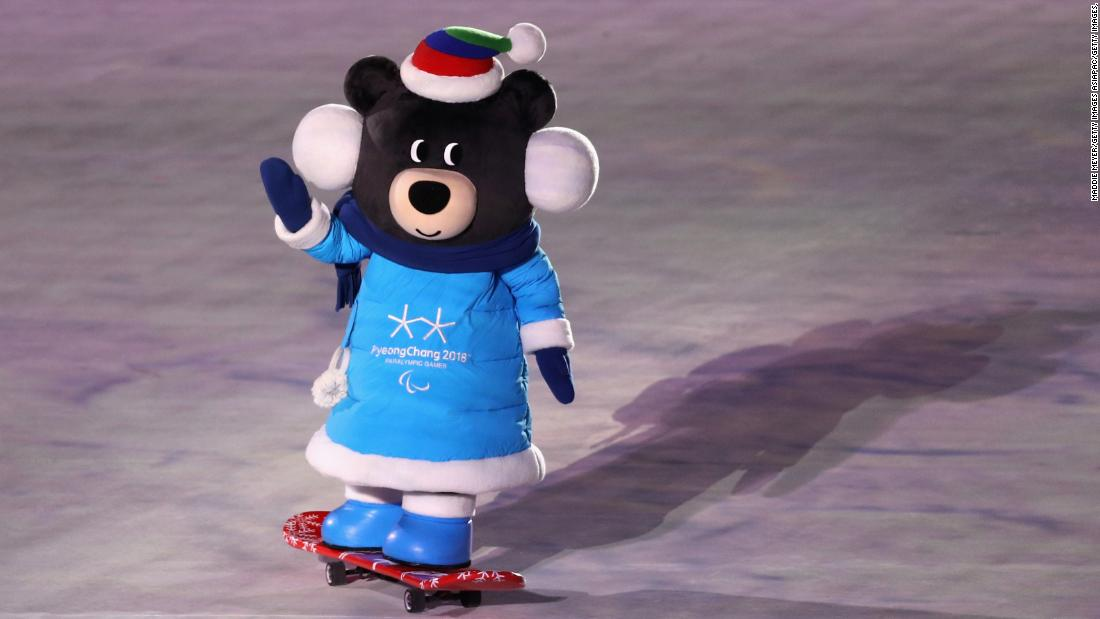 PyeongChang Paralympics mascot Bandabi skateboards into the arena during the ceremony.