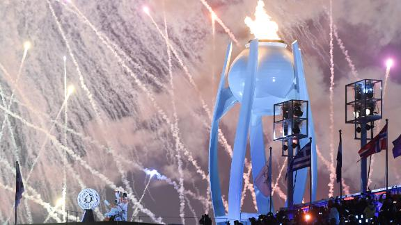 Fireworks explode as the Paralympic cauldron is lit to mark the official start of the 2018 PyeongChang Games.
