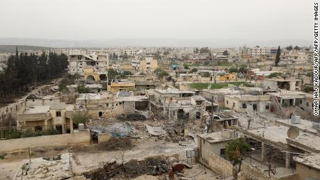 The town of Jandaris on March 8, 2018 in Syria's Afrin region, near the Turkish border.