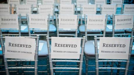 UNITED STATES - MARCH 7: Rows of chairs reserved for members of Congress were set up for House Minority Leader Nancy Pelosi ceremony at the The National Museum of American History where she donated items representing her term as the first female Speaker of the House on Wednesday, March 7, 2018. Items donated included her gavel, the tally sheet from her election as Speaker and a dress. (Photo By Bill Clark/CQ Roll Call)