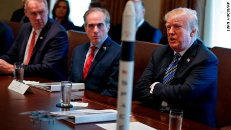 Secretary of Veterans Affairs David Shulkin, center, listens as President Donald Trump speaks during a cabinet meeting at the White House, Thursday, March 8, 2018, in Washington. (AP/Evan Vucci)