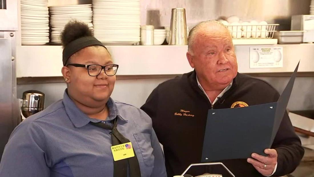 A waitress takes time to cut elderly diner's ham. Kind act wins her a college scholarship
