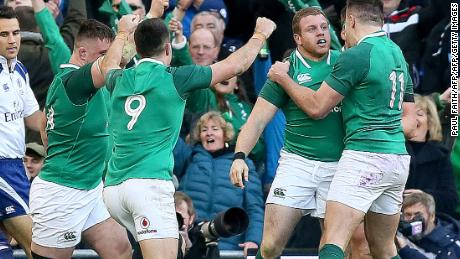 Ireland's Sean Cronin celebrates after scoring his team's fourth try during the Six Nations match against Scotland.