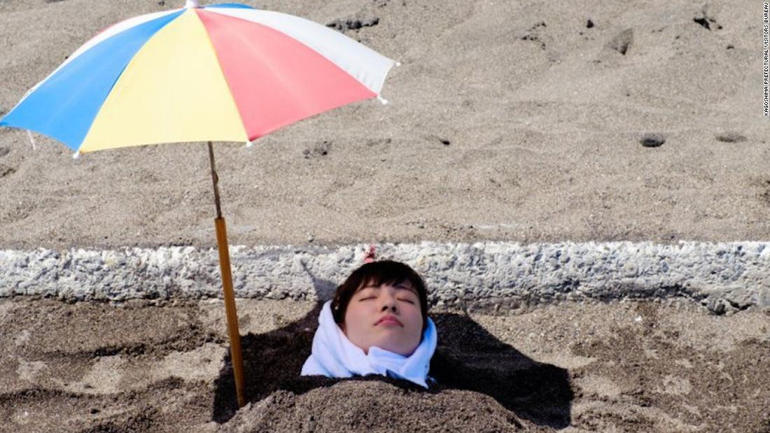 Sand bathing in southern Japan