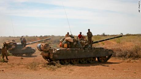 Ethiopian military tanks sit in position on the outskirts of the town of Baidoa in Somalia in 2012.