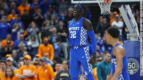 Kentucky Wildcats forward Wenyen Gabriel (32) reacts after a basket during the second half of the SEC Conference Tournament Championship game against the Tennessee Volunteers at Scottrade Center. Kentucky won 77-72.