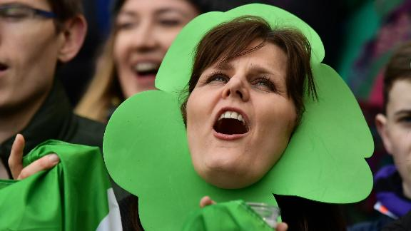 An Irish fan is in full voice as she celebrates her team's first title since 2015 and the prospect of a first grand slam since 2009.