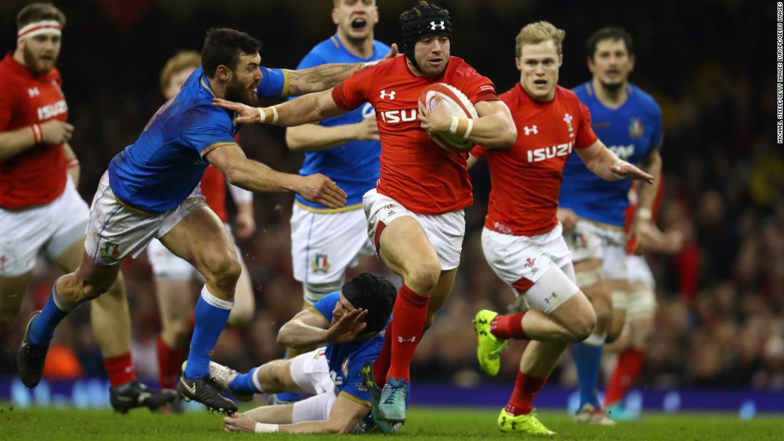 Wales swept to a convincing 38-14 win over Italy at the Principality Stadium, where Leigh Halfpenny is seen making a break.
