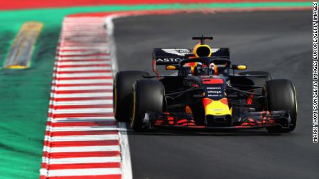 MONTMELO, SPAIN - MARCH 09: Daniel Ricciardo of Australia driving the (3) Aston Martin Red Bull Racing RB14 TAG Heuer on track during day four of F1 Winter Testing at Circuit de Catalunya on March 9, 2018 in Montmelo, Spain.  (Photo by Mark Thompson/Getty Images)
