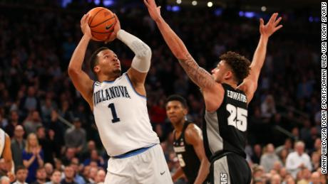 Villanova Wildcats guard Jalen Brunson (1) looks to take a shot against Providence Friars guard Drew Edwards (25) during the second half of the Big East Conference Tournament Championship at Madison Square Garden.