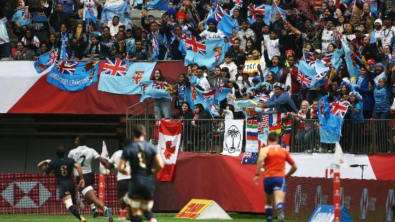 Fiji fans celebrate in Vancouver where their country secured its second win of the Sevens World Series.