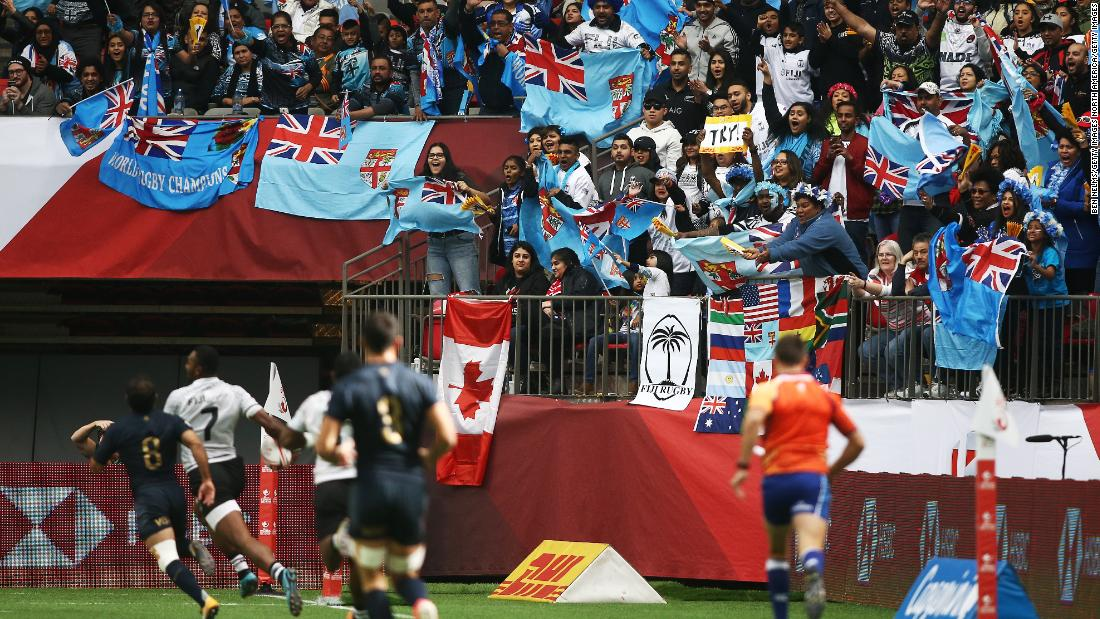 "Fiji fans celebrate in <a href=""http://www.cnn.com/2018/03/12/sport/canada-sevens-kenya-fiji-spt/index.html"">Vancouver</a> where their country secured its second win of the Sevens World Series."
