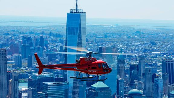 Liberty Helicopters runs sightseeing flights over New York City.