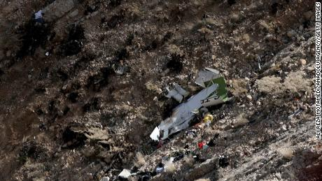 Wreckage of the crashed jet is seen in the Kiyar district of Iran's Chaharmahal and Bakhtiari province.
