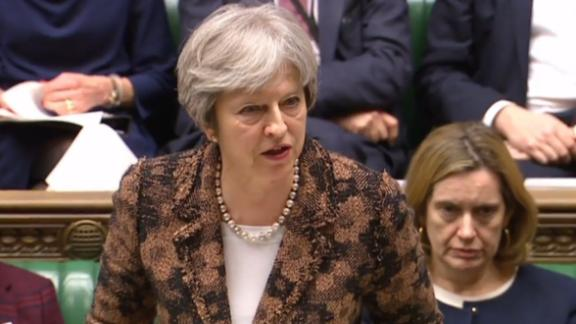 """A video grab from footage broadcast by the UK Parliament's Parliamentary Recording Unit (PRU) shows Britain's Prime Minister Theresa May gesturing delivering a statement to members of parliament in the House of Commons on the nerve agent attack against Russian double agent Sergei Skripal in Salisbury last week, in London on March 12, 2018. British Prime Minister Theresa May said Monday it was """"highly likely"""" that Moscow was behind the poisoning of a former double agent. / AFP PHOTO / PRU / HO / RESTRICTED TO EDITORIAL USE - MANDATORY CREDIT """" AFP PHOTO / PRU """" - NO USE FOR ENTERTAINMENT, SATIRICAL, MARKETING OR ADVERTISING CAMPAIGNSHO/AFP/Getty Images"""