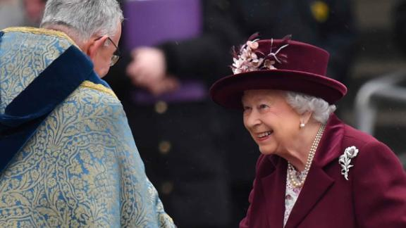 Queen Elizabeth II arrives for the Commonwealth Service at Westminster Abbey in London.