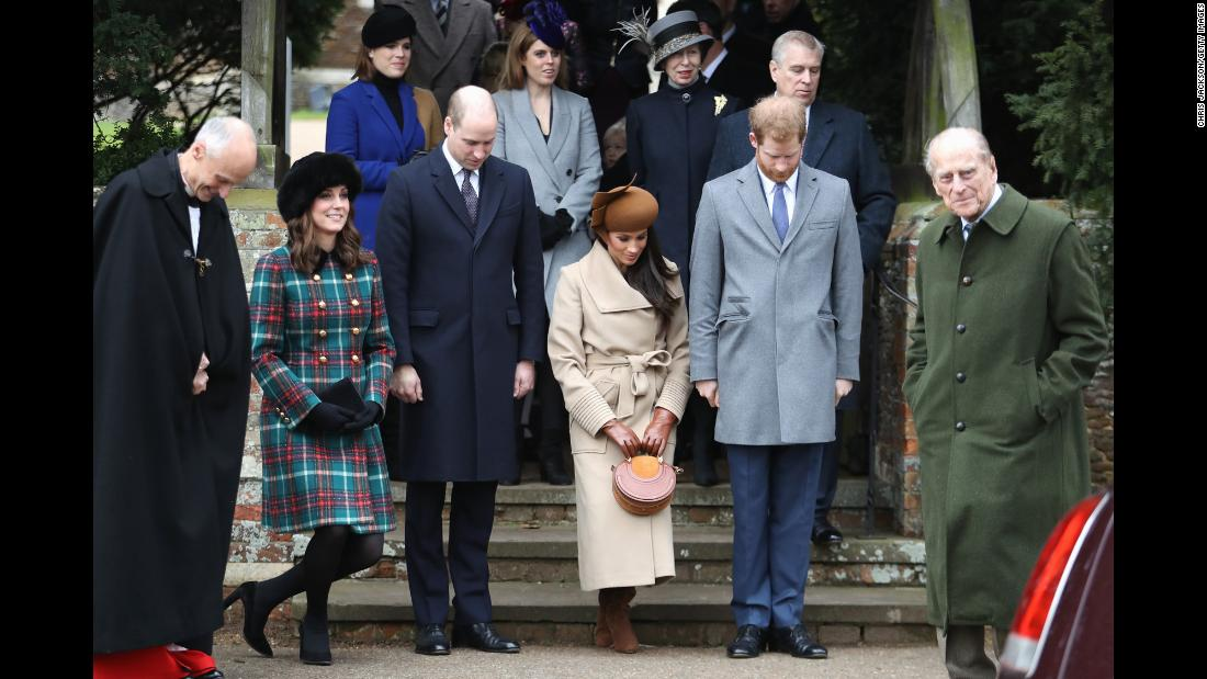 Meghan and Harry attend a Christmas Day church service with other members of the royal family in December 2017.