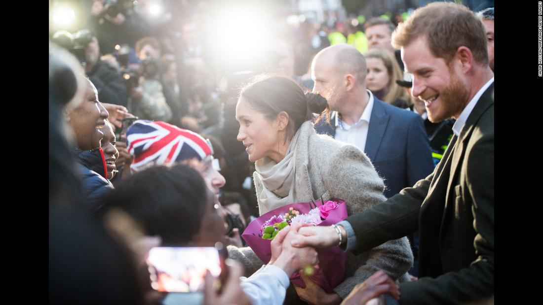 The couple meets well-wishers during an appearance in London in January 2018.