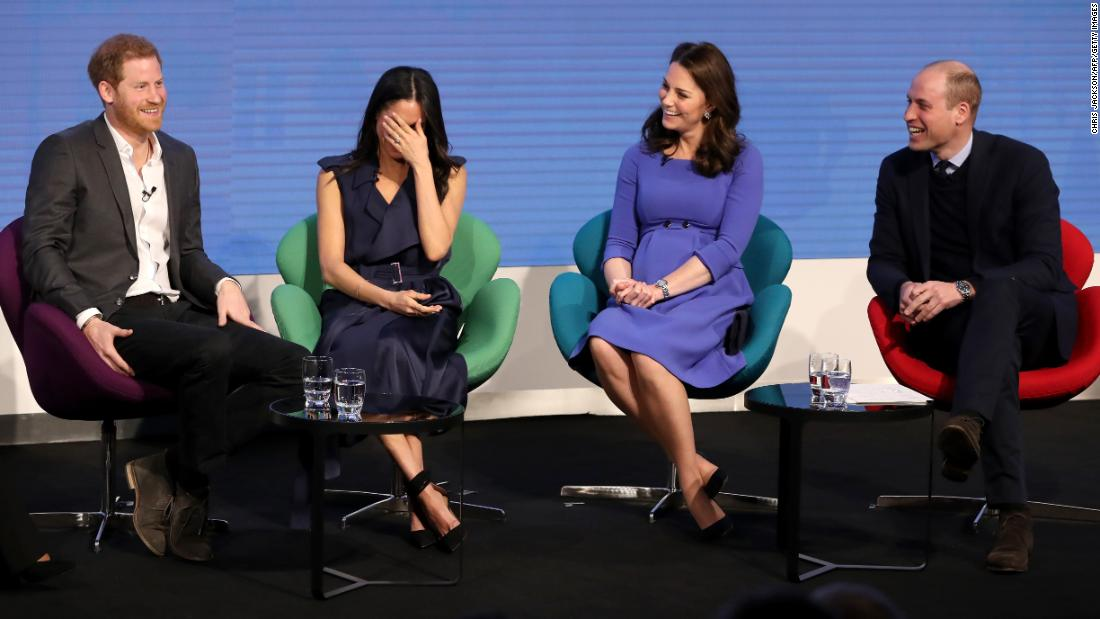 Harry and Meghan join Prince William and Catherine, the Duchess of Cambridge, during a Royal Foundation Forum in February 2018.