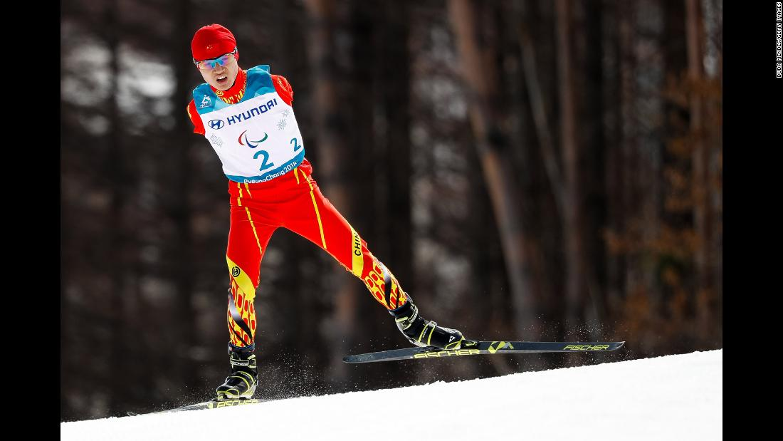 China's Chenyang Wang skis during a Paralympics race on Monday, March 12. The Winter Paralympics are taking place in Pyeongchang, South Korea, through March 18.