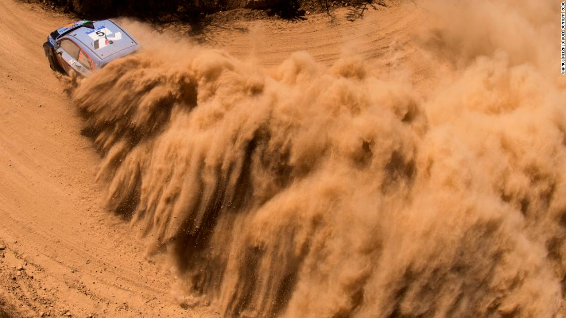 Dirt flies from the car of Thierry Neuville during the Rally Mexico race on Friday, March 9.