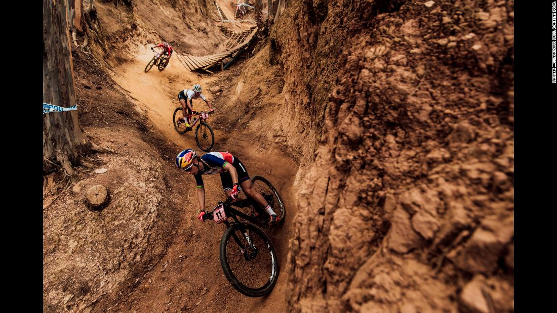 Mountain bikers compete in a World Cup race in Stellenbosch, South Africa, on Saturday, March 10.