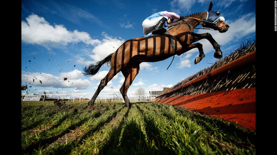 A shadow is cast on Thedrinkymeister as the racehorse clears a jump in Wincanton, England, on Thursday, March 8.