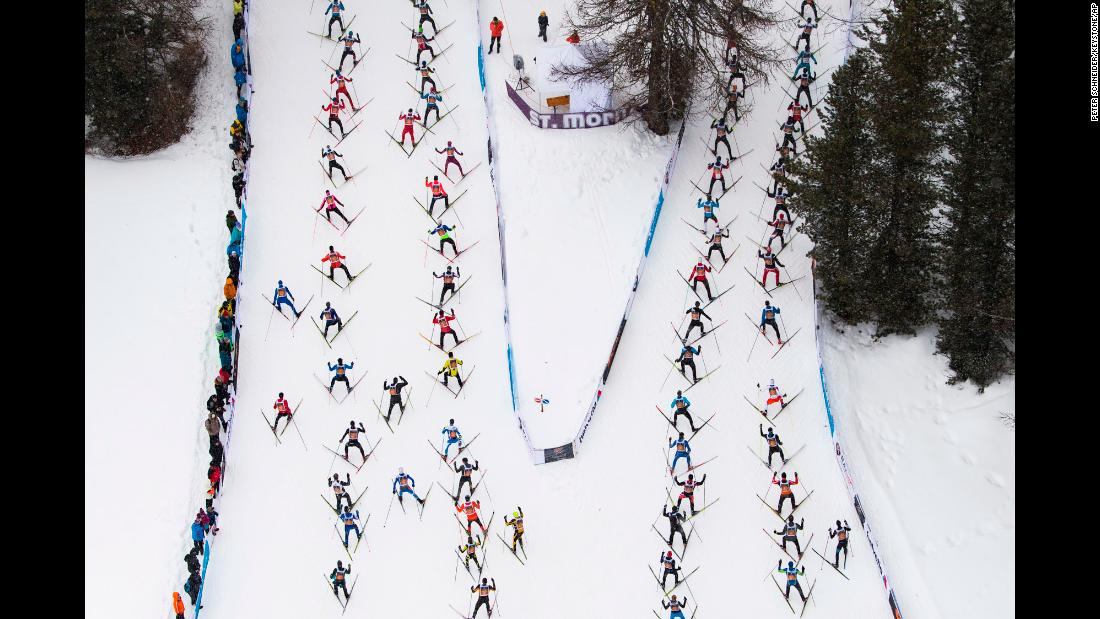 Cross-country skiers race in Switzerland during the annual Engadin marathon on Sunday, March 11.