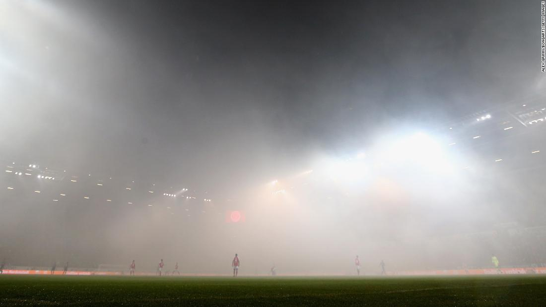 "Fog covers a soccer field in Mainz, Germany, after fans burned flares during the Bundesliga match between Mainz and Schalke on Friday, March 9. <a href=""http://www.cnn.com/2018/03/06/sport/gallery/what-a-shot-sports-0305/index.html"" target=""_blank"">See 25 amazing sports photos from last week</a>"