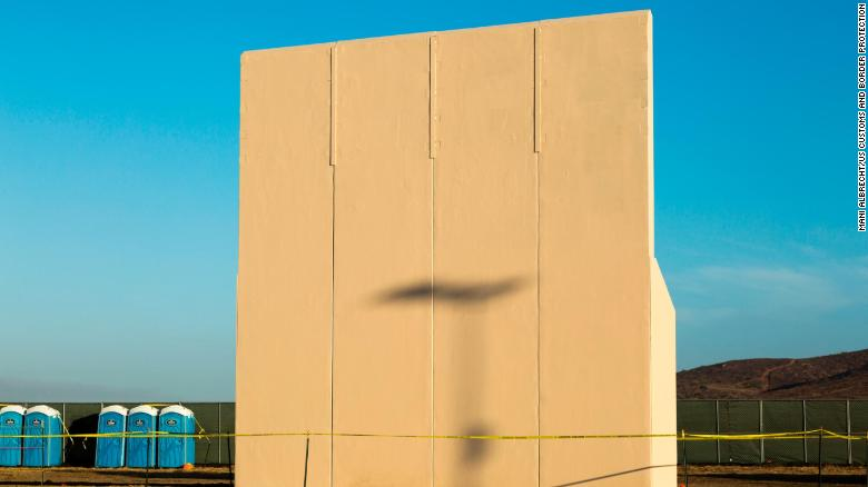 One of the eight border wall prototypes is pictured in its testing environment in San Diego near the Otay Mesa Port of Entry. Customs and Border Protection is evaluating the potential border barriers and may use characteristics of them in its future construction along the border.