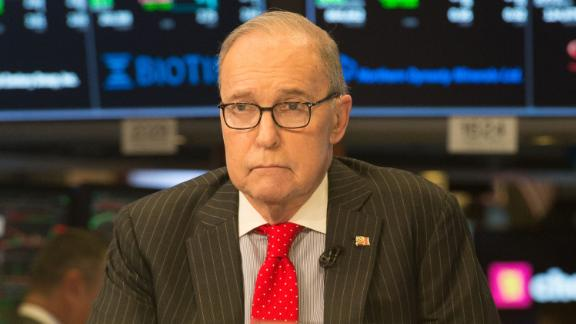 US conservative commentator and economic analyst Larry Kudlow speaks on the set of CNBC at the closing bell of the Dow Industrial Average at the New York Stock Exchange on March 8, 2018 in New York.