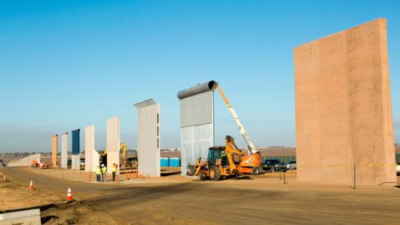 Ground views of different Border Wall Prototypes as they take shape during the Wall Prototype Construction Project near the Otay Mesa Port of Entry.Photo by: Mani Albrecht
