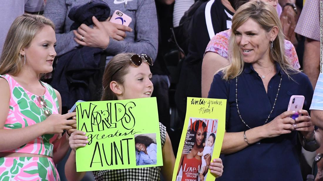 The fans took in the action... who would win? Mom Serena or Aunt Venus?