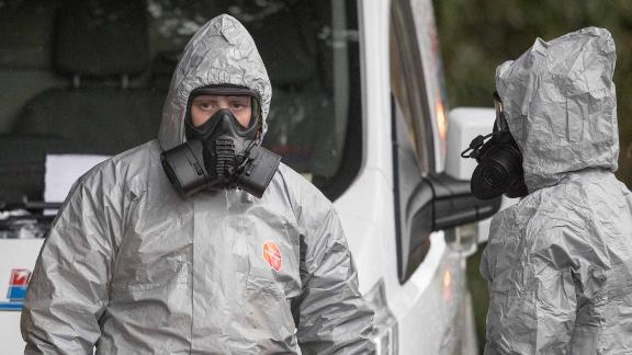 SALISBURY, ENGLAND - MARCH 12:  Investigators in protective clothing remove a van from an address in Winterslow near Salisbury, as police and members of the armed forces continue to investigate the suspected nerve agent attack on Russian double agent Sergei Skripa on March 12, 2018 in Wiltshire, England.  Sergei Skripal who was granted refuge in the UK following a 'spy swap' between the US and Russia in 2010 and his daughter remain critically ill after being attacked with a nerve agent.  (Photo by Matt Cardy/Getty Images)