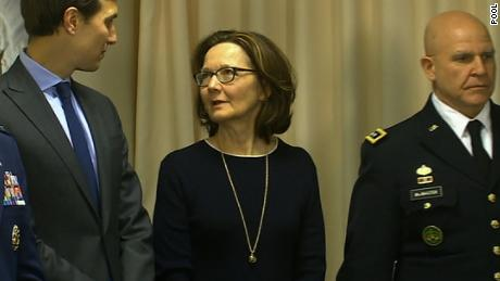 Gina Haspel, center, speaks to Jared Kushner before a meeting between Secretary of Defense Jim Mattis and Saudi Arabia's Deputy Crown Prince and Minister of Defense Mohammed bin Salman at the Pentagon in March 2017.