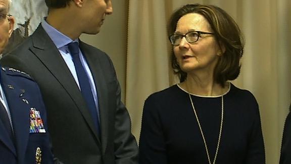 Gina Haspel, center, speaks to Jared Kushner before a meeting between Secretary of Defense Jim Mattis and Saudi Arabia