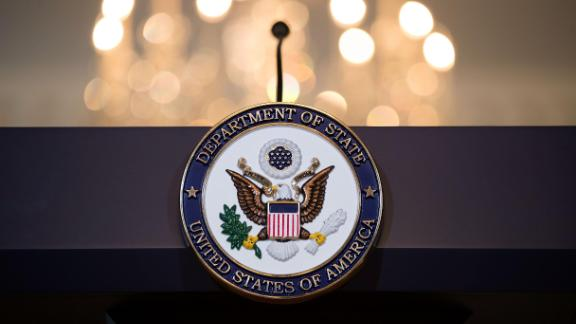 WASHINGTON, DC - JUNE 09:  A view of the State Department seal on the podium before Romanian President Klaus Iohannis and U.S. Secretary of State Rex Tillerson appear for a photo opportunity at the State Department, June 9, 2017 in Washington, DC. Iohannis is also scheduled to meet with President Donald Trump on Friday afternoon. (Photo by Drew Angerer/Getty Images)