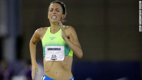 Gabriele Grunewald, here in a 2017 race, had a softball-size tumor removed from her liver in 2016.