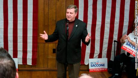 ELIZABETH, PA - MARCH 12: Rick Saccone, Republican Congressional candidate for Pennsylvania's 18th district, speaks at a campaign rally at the Blaine Hill Volunteer Fire Department, March 12, 2018 in Elizabeth, Pennsylvania. Saccone is running in a tight race for the vacated seat of Congressman Tim Murphy against Democratic candidate Conor Lamb. Voters will head to the polls on Tuesday for the special election. (Photo by Drew Angerer/Getty Images)