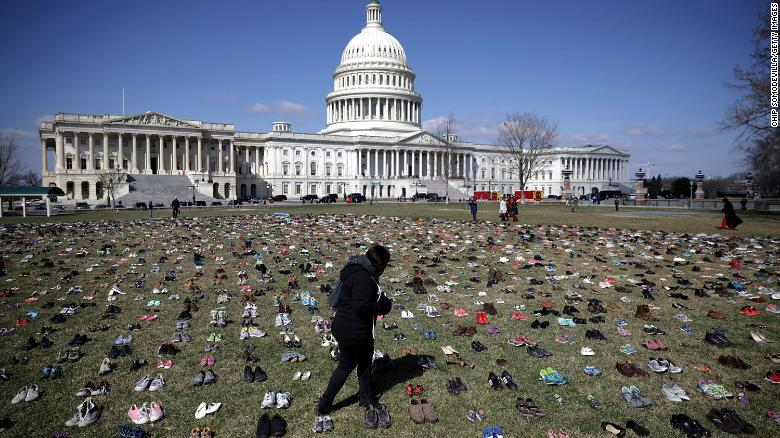 7,000 pairs of shoes placed on Capitol lawn