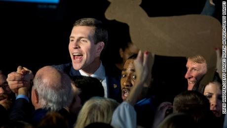 CANONSBURG, PA - MARCH 14: Conor Lamb, Democratic congressional candidate for Pennsylvania's 18th district, greets supporters at an election night rally March 14, 2018 in Canonsburg, Pennsylvania. Lamb claimed victory against Republican candidate Rick Saccone, but many news outlets report the race as too close to call. (Photo by Drew Angerer/Getty Images)