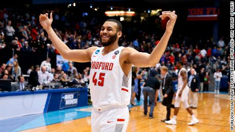 Radford Highlanders center Darius Bolstad (45) reacts to victory against the Long Island Blackbirds during the First Four of the 2018 NCAA Tournament at Dayton Arena.
