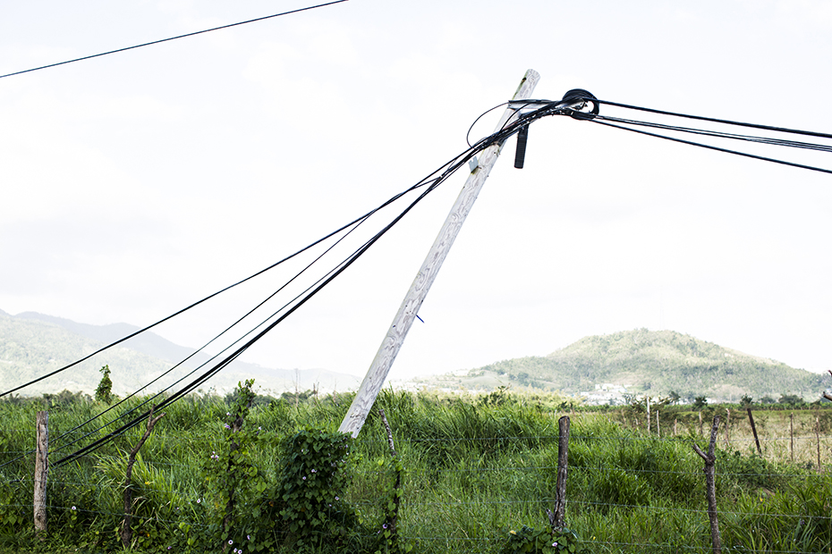 In March, power lines were still twisted and broken in southeastern Puerto Rico.