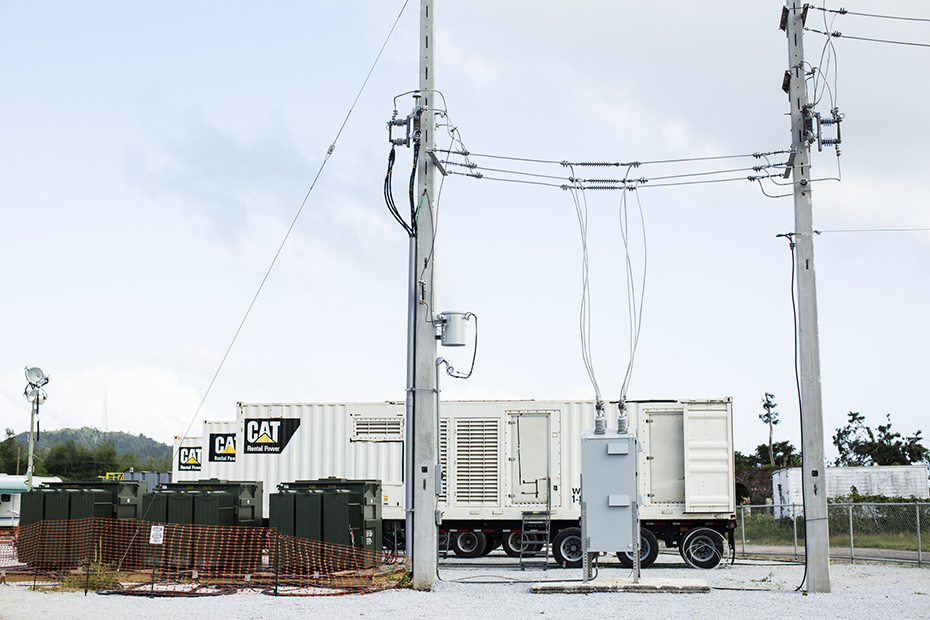 The US government installed three emergency generators in Maunabo to try to re-electrify the town.