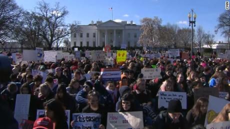 Students rally against gun violence Wednesday in front of the White House.